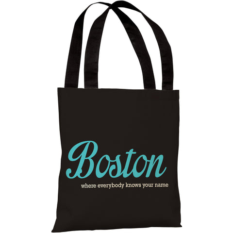 """Boston - Where Everybody Knows Your Name"" 18""x18"" Tote Bag by OneBellaCasa"