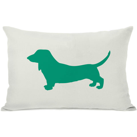 """Doxie Silhouette"" Indoor Throw Pillow by OneBellaCasa, Black, 14""x20"""