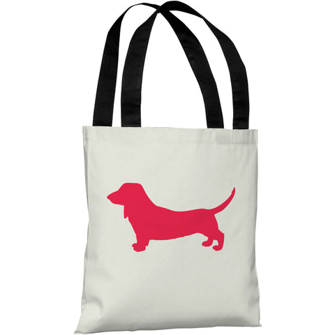 """Doxie Silhouette"" 18""x18"" Tote Bag by OneBellaCasa"