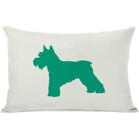 """Schnauzer Silhouette"" Indoor Throw Pillow by OneBellaCasa, Black, 14""x20"""