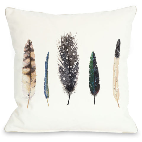 """Feathers"" Indoor Throw Pillow by Ana Victoria Calderon, 16""x16"""