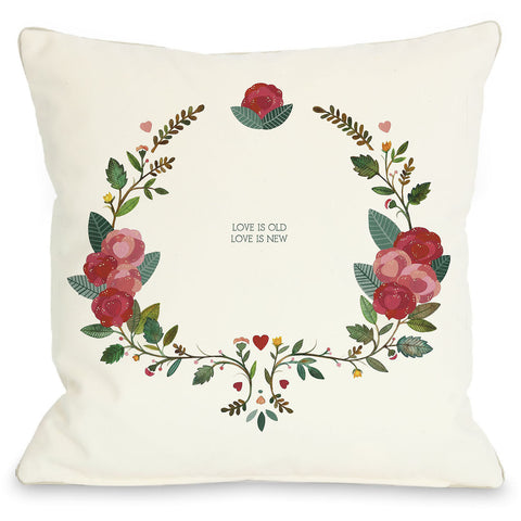 """Love Is Old Love Is New"" Indoor Throw Pillow by Ana Victoria Calderon, 16""x16"""