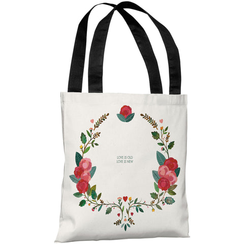 """Love Is Old Love Is New"" 18""x18"" Tote Bag by Ana Victoria Calderon"