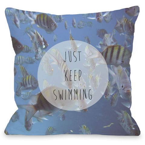 """Just Keep Swimming"" Outdoor Throw Pillow by OneBellaCasa, 16""x16"""