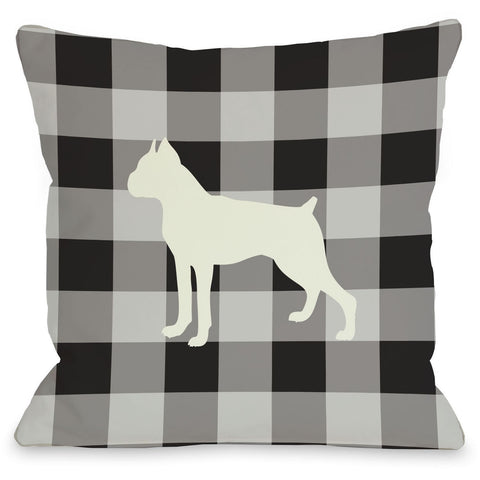 """Gingham Boxer"" Indoor Throw Pillow by OneBellaCasa, 16""x16"""