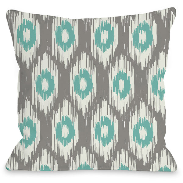 Kelly Ikat Outdoor Throw Pillow By Onebellacasa Gray Turquoise 16
