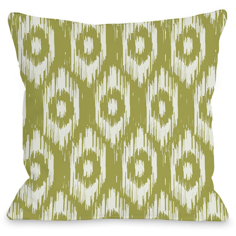 """Kelly Ikat"" Outdoor Throw Pillow by OneBellaCasa, Gray/Turquoise, 16""x16"""