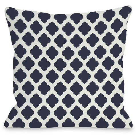 """Moroccan"" Outdoor Throw Pillow by OneBellaCasa, Navy/Ivory, 16""x16"""