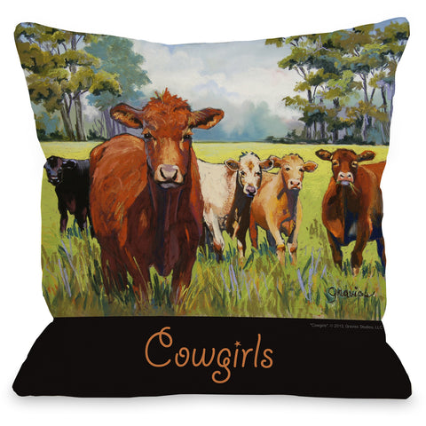 """Cowgirls"" Outdoor Throw Pillow by Graviss Studios, 16""x16"""