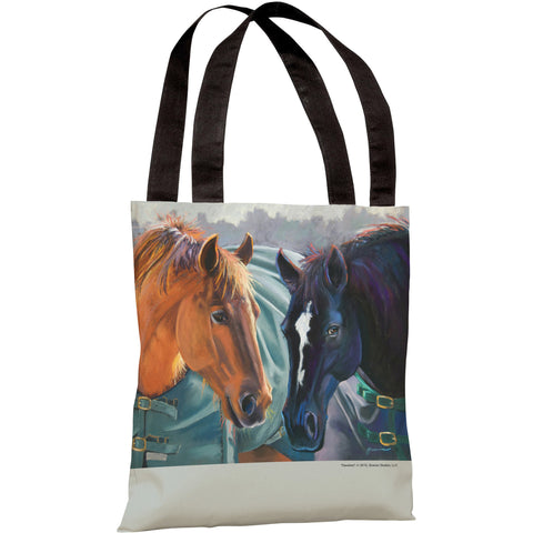 """Devotion Horses"" 18""x18"" Tote Bag by Graviss Studios"