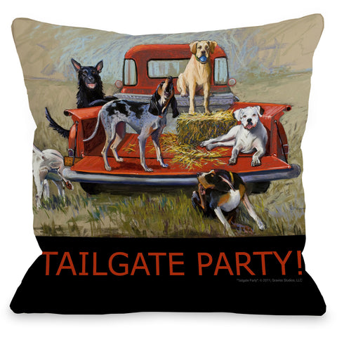 """Tailgate Party"" Outdoor Throw Pillow by Graviss Studios, 16""x16"""