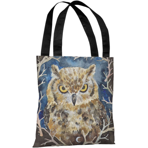 """Rivers Owl"" 18""x18"" Tote Bag by Ana Victoria Calderon"