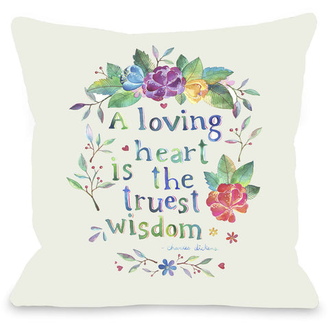 """A Loving Heart"" Quote Indoor Throw Pillow by Ana Victoria Calderon, 16""x16"""