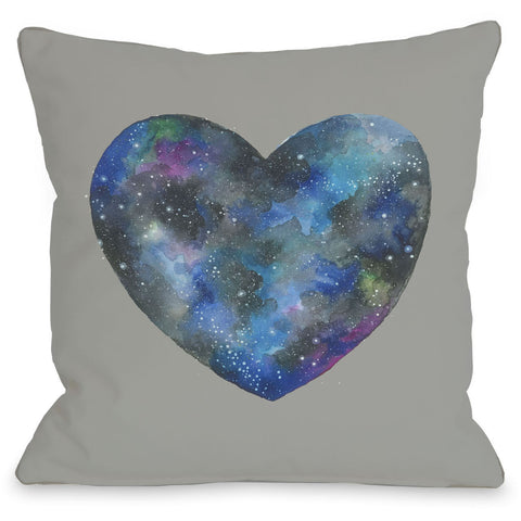 """Cosmic Heart"" Indoor Throw Pillow by Ana Victoria Calderon, Grey, 16""x16"""
