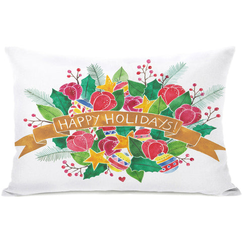 """Happy Holidays Bouquet"" Indoor Throw Pillow by Ana Victoria Calderon, 14""x20"""