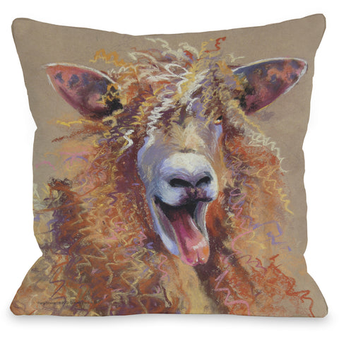 """Sheep Happens!"" Outdoor Throw Pillow by Graviss Studios, 16""x16"""