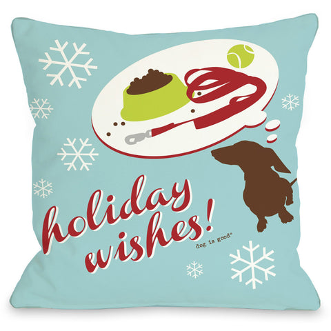 """Holiday Wishes Dog"" Indoor Throw Pillow by Dog is Good, 16""x16"""