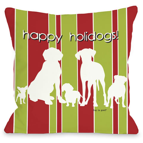 """Happy Holidogs"" Indoor Throw Pillow by Dog is Good, 16""x16"""