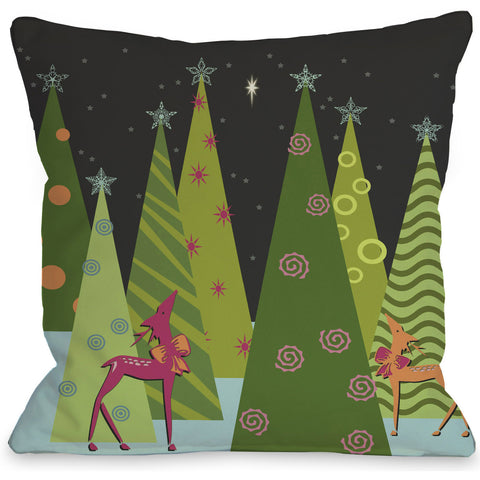 """Christmas Tree Parade"" Indoor Throw Pillow by Kate Ward Thacker, 16""x16"""