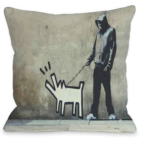 """Choose Your Weapon Graffiti"" Indoor Throw Pillow by Banksy, 16""x16"""