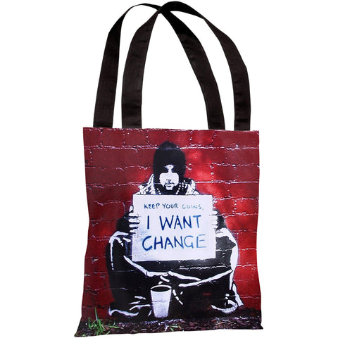 """Keep Your Coins Graffiti"" 18""x18"" Tote Bag by Banksy"
