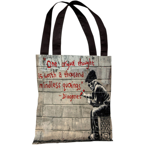"""One Original Thought"" Diogenes Quote 18""x18"" Tote Bag by Banksy"