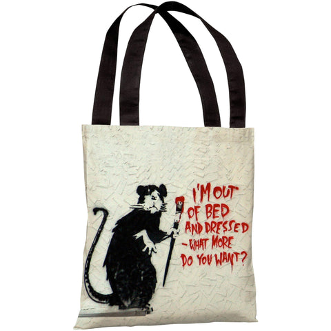 """Rat Out Of Bed Graffiti"" 18""x18"" Tote Bag by Banksy"