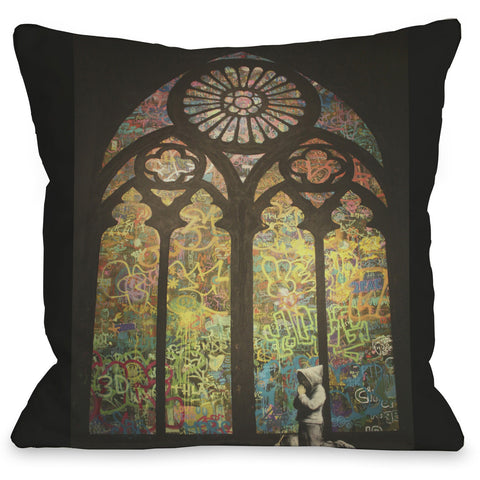 """Stained Glass Graffiti"" Indoor Throw Pillow by Banksy, 16""x16"""