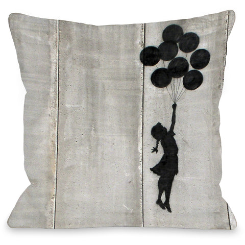 """Balloon Graffiti"" Indoor Throw Pillow by Banksy, 16""x16"""