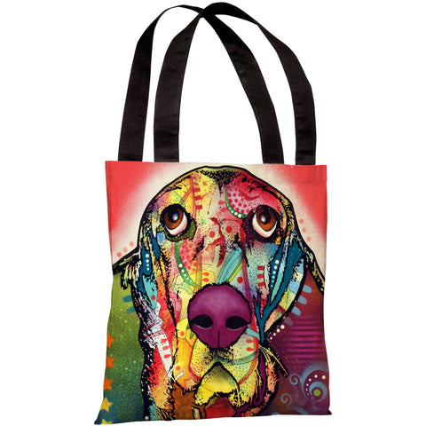 """Basset Hound"" 18""x18"" Tote Bag by Dean Russo"