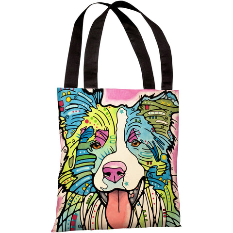 """Border Collie"" 18""x18"" Tote Bag by Dean Russo"