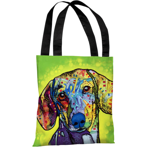 """Dachshund"" 18""x18"" Tote Bag by Dean Russo"