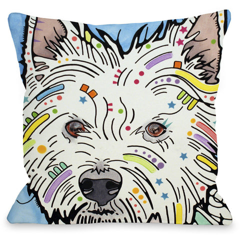 """West Highland Terrier"" Indoor Throw Pillow by Dean Russo, 16""x16"""
