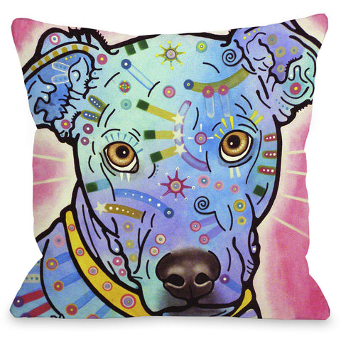 """Leer Dog"" Indoor Throw Pillow by Dean Russo, 16""x16"""