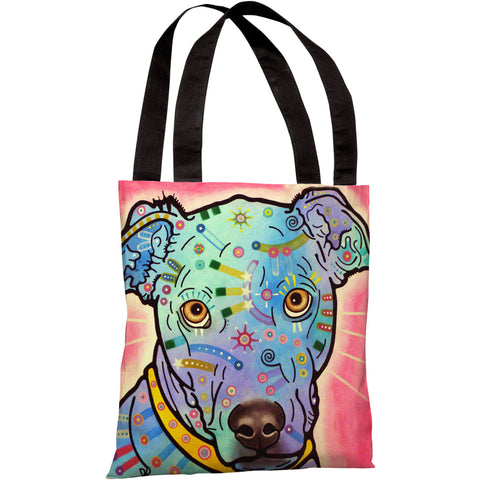"""Leer Dog"" 18""x18"" Tote Bag by Dean Russo"