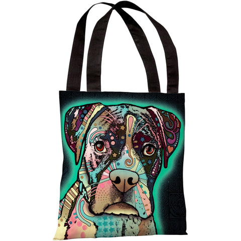 """Love Thy Boxer"" 18""x18"" Tote Bag by Dean Russo"