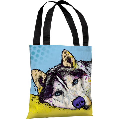 """Siberian Husky"" 18""x18"" Tote Bag by Dean Russo"