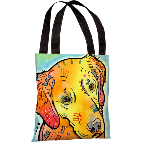 """The Goldenish Retriever"" 18""x18"" Tote Bag by Dean Russo"
