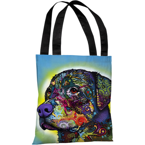 """The Rottweiler"" 18""x18"" Tote Bag by Dean Russo"