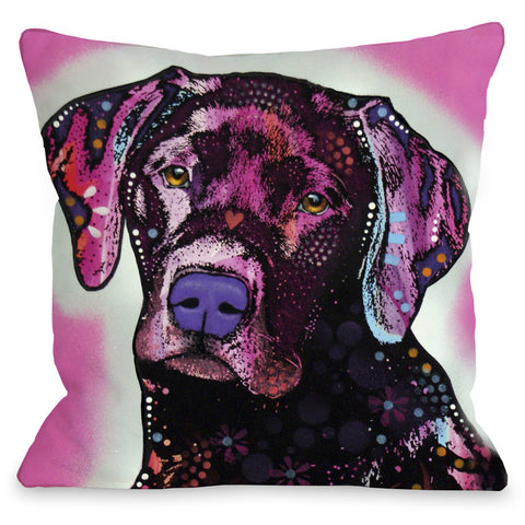 """Black Lab"" Indoor Throw Pillow by Dean Russo, 16""x16"""