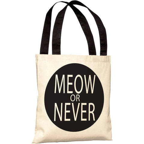 """Meow Or Never"" 18""x18"" Tote Bag by OneBellaCasa"