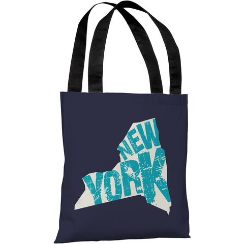 """New York State Type"" 18""x18"" Tote Bag by OneBellaCasa"