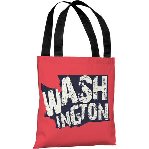 """Washington State Type"" 18""x18"" Tote Bag by OneBellaCasa"