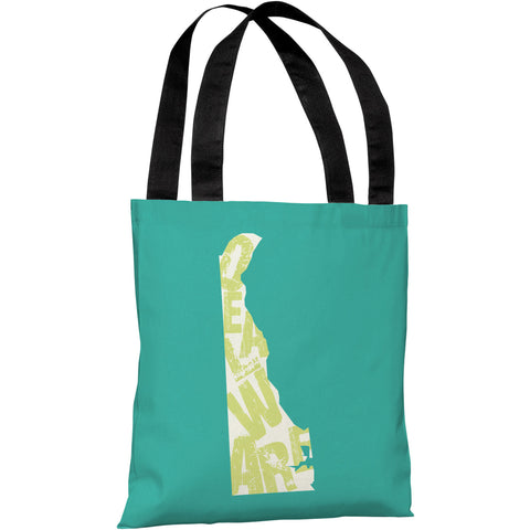 """Delaware State Type"" 18""x18"" Tote Bag by OneBellaCasa"