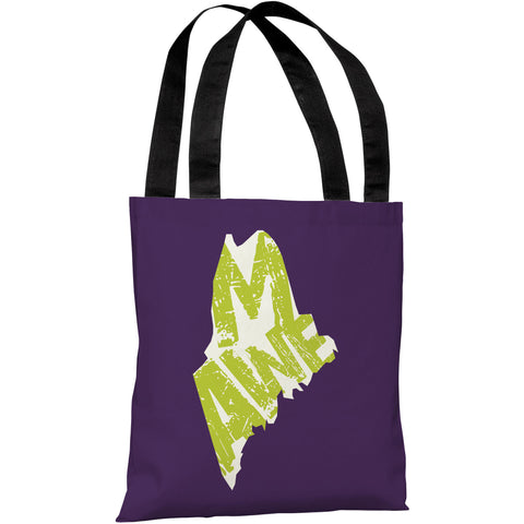 """Maine State Type"" 18""x18"" Tote Bag by OneBellaCasa"