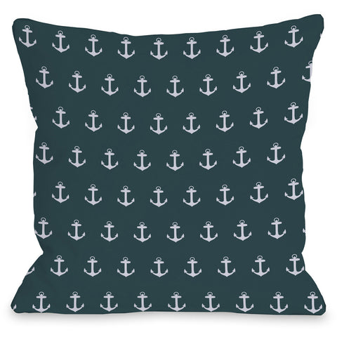 """All Over Anchor"" Outdoor Throw Pillow by OneBellaCasa, 16""x16"""