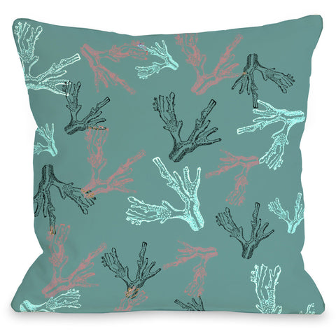 """Coral Reef"" Outdoor Throw Pillow by OneBellaCasa, 16""x16"""