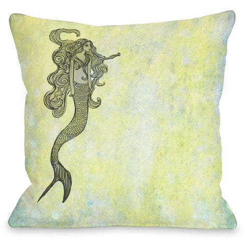 """Mermaid"" Outdoor Throw Pillow by OneBellaCasa, 16""x16"""