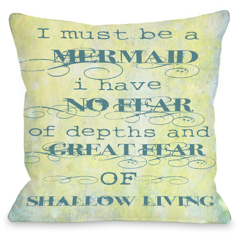 """Must Be A Mermaid"" Outdoor Throw Pillow by OneBellaCasa, 16""x16"""