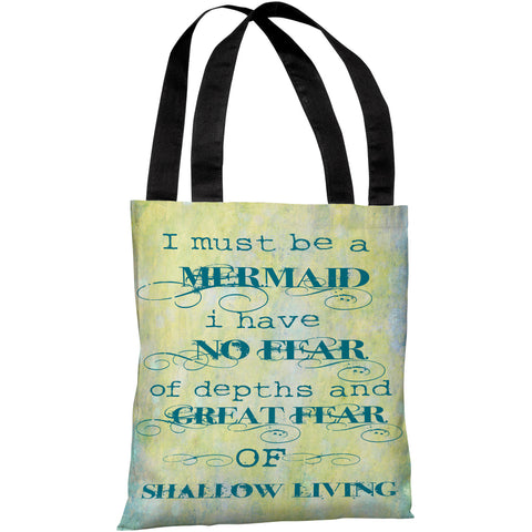 """Must Be A Mermaid"" 18""x18"" Tote Bag by OneBellaCasa"